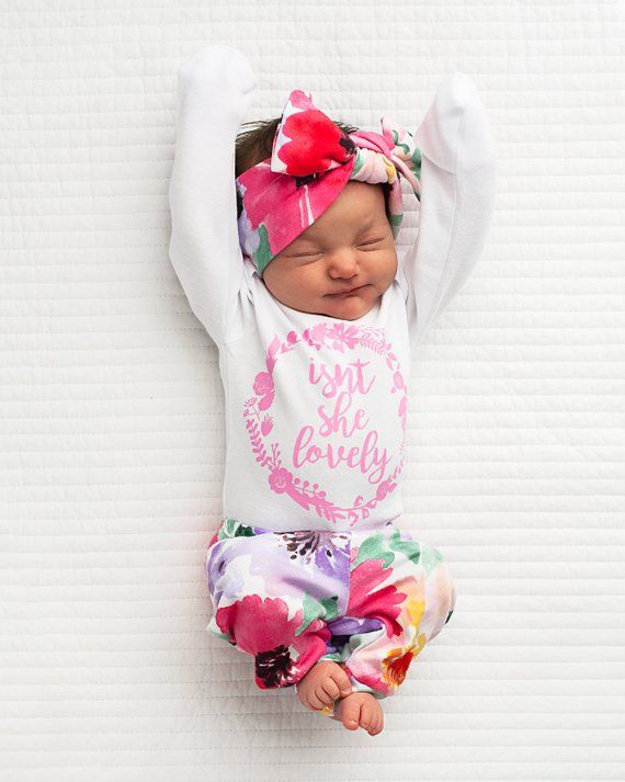 9656cdbb411e3 Newborn Baby girl coming home outfit watercolor Isn't she Lovely, Emilia  Floral theme hello world ba
