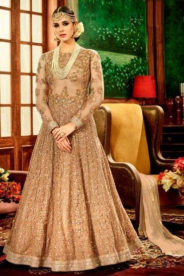 Net Anarkali Suit With Dupatta In Beige Color - DMV15141 | Andaaz ...