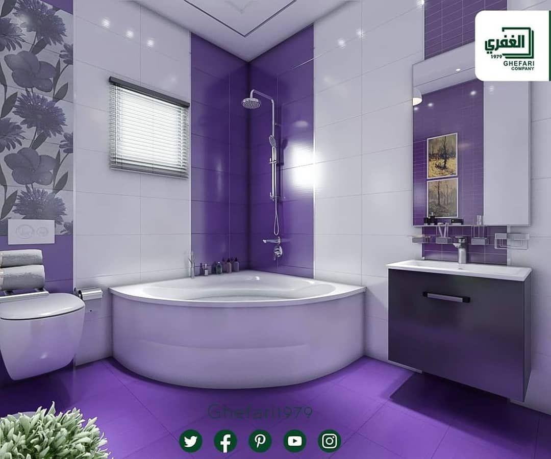 تصميم لأحد زبائننا باللون الموف للمزيد زورونا على موقع الشركة Www Ghefari Com الرقم المجاني 1700 25 26 27 Corner Bathtub Bathtub Instagram Posts