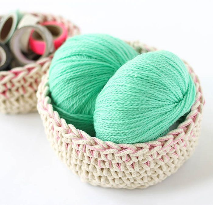 Make Your Own Color Block Crochet Baskets Perfect For Storing Odds