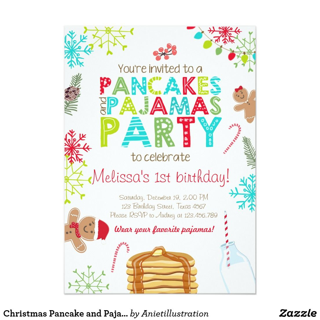 Christmas Pancake and Pajamas birthday invitation | Christmas ...