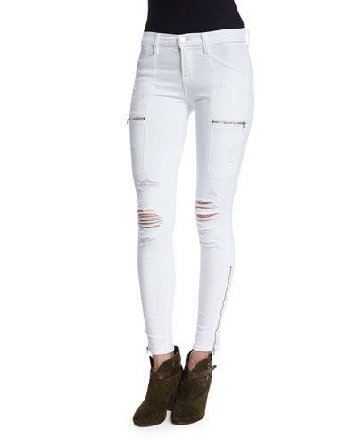 TBRYM J Brand Jeans Kassidy Distressed Skinny Jeans, White