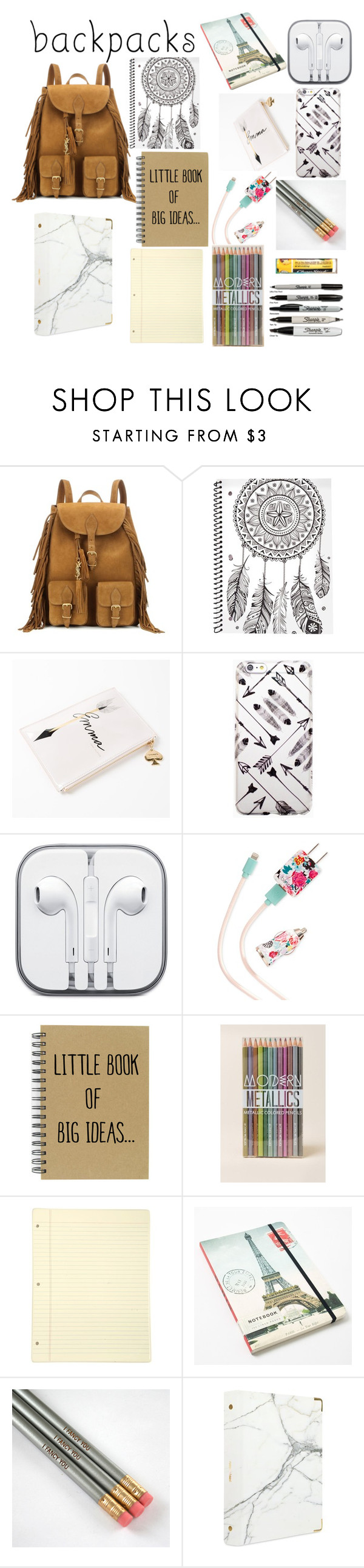 """school "" by delilah-teen-wolf ❤ liked on Polyvore featuring Yves Saint Laurent, Kate Spade, ban.do, Cavallini, russell+hazel, Chapstick, backpacks, contestentry and PVStyleInsiderContest"