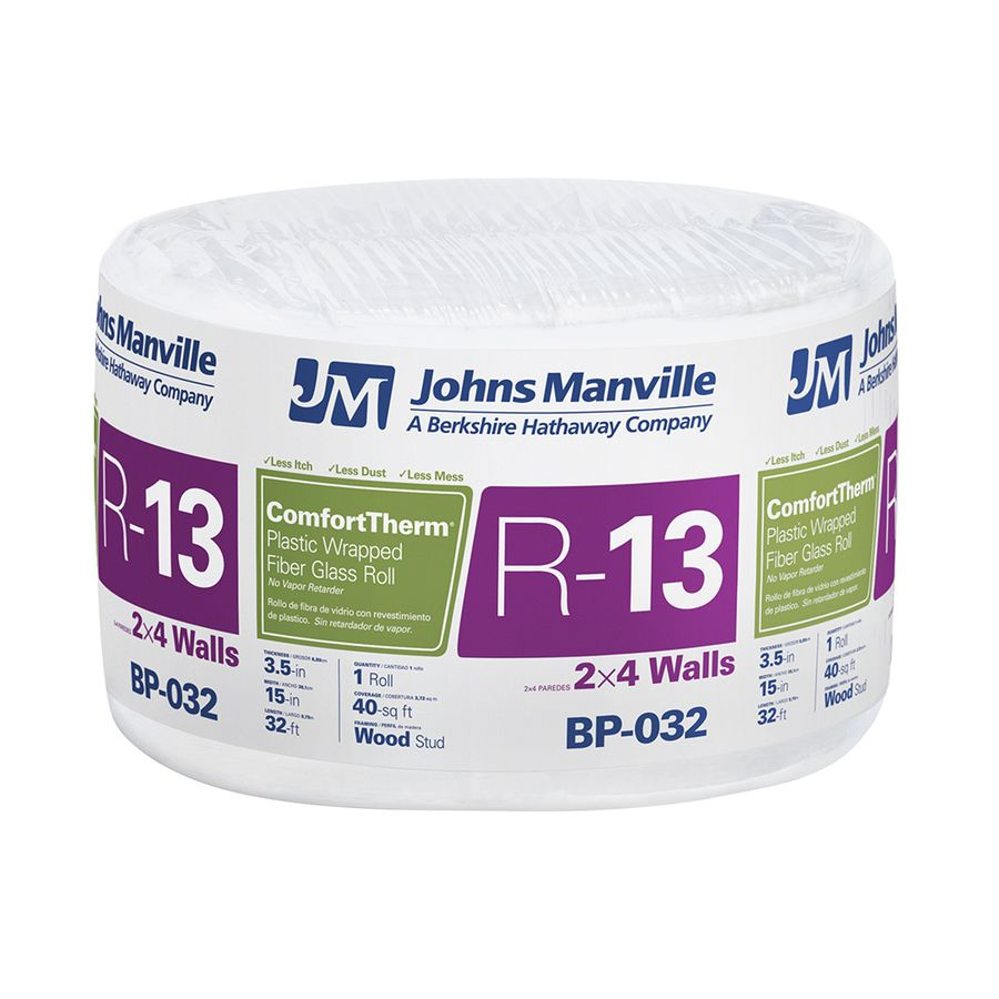 Johns Manville Comforttherm R 13 40 Sq Ft Encapsulated Fiberglass Roll Insulation With Sound Ba Roll Insulation Fiberglass Insulation Diy Spray Foam Insulation