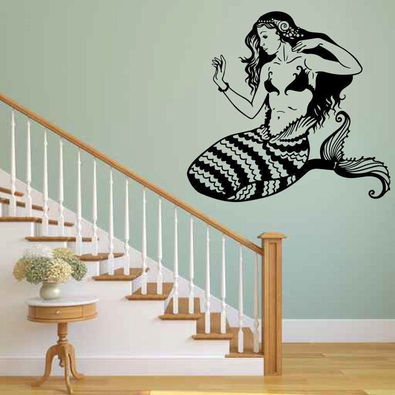Mermaid Vinyl Wall Decal Sticker Graphic Wall Decal Sticker - Custom vinyl decals stickers   removal options