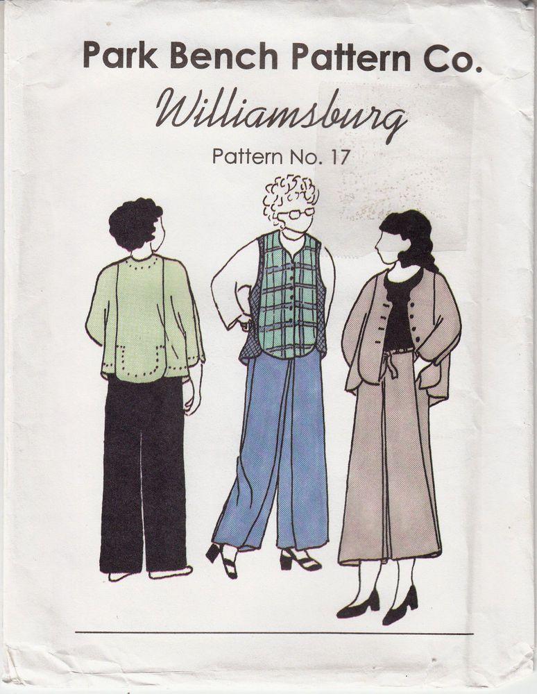Park Bench 17 Williamsburg Jacket Pants Adjustable Sewing Pattern