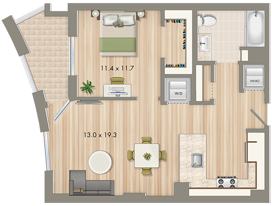 Park chelsea at the collective 1 bedroom floorplan 728 - Washington dc 1 bedroom apartments ...