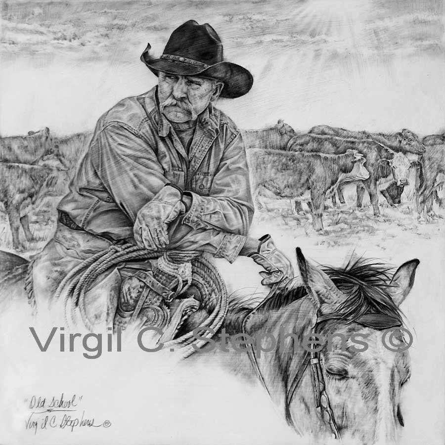 Cowboy pencil art pencil drawing western of a cowboy at the stock tanks ranch art new