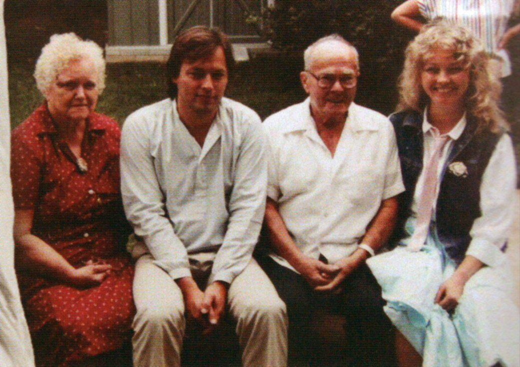 """David and Ginger at the Hasenbein family reunion, with Ginger's grandparents, """"Nannan"""" and """"Poppop""""."""