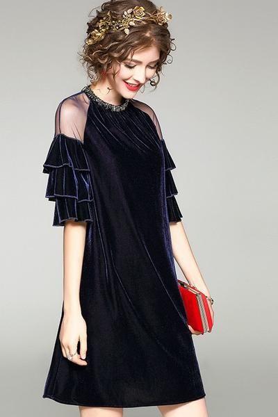 Beaded A Line Dress W Ruffled Sleeves Naryady Vechernie Platya Milye Platya
