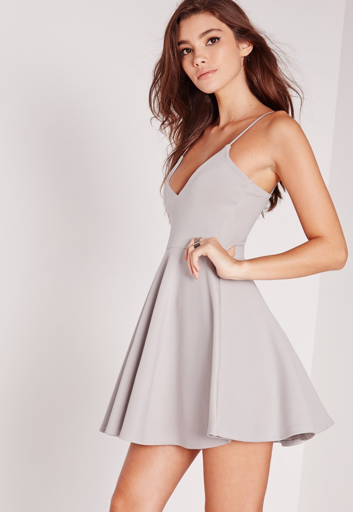 25a1353501359 Strappy Skater Dress Grey - Missguided | s t y l e in 2019 | Cutout ...