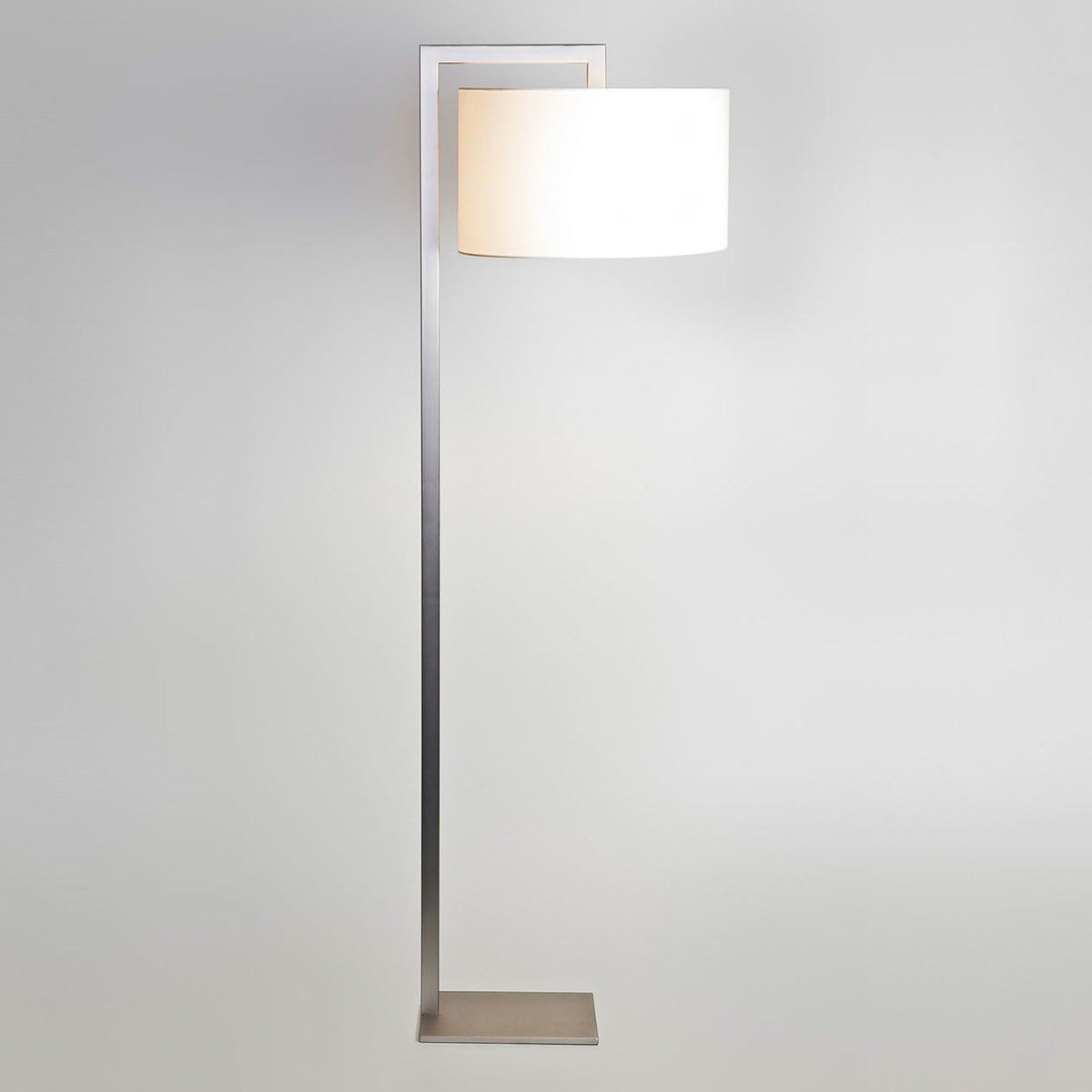 Astro Ravello Matt Nickel Floor Lamp With Black Large Drum Shade Modern Floor Lamps