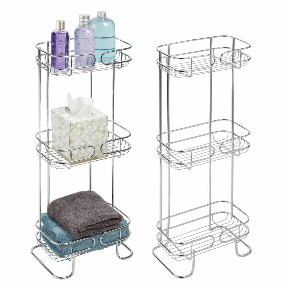 Two 27 Mdesign Chrome 3 Tier Slim Shelf Bath Tissue Kitchen