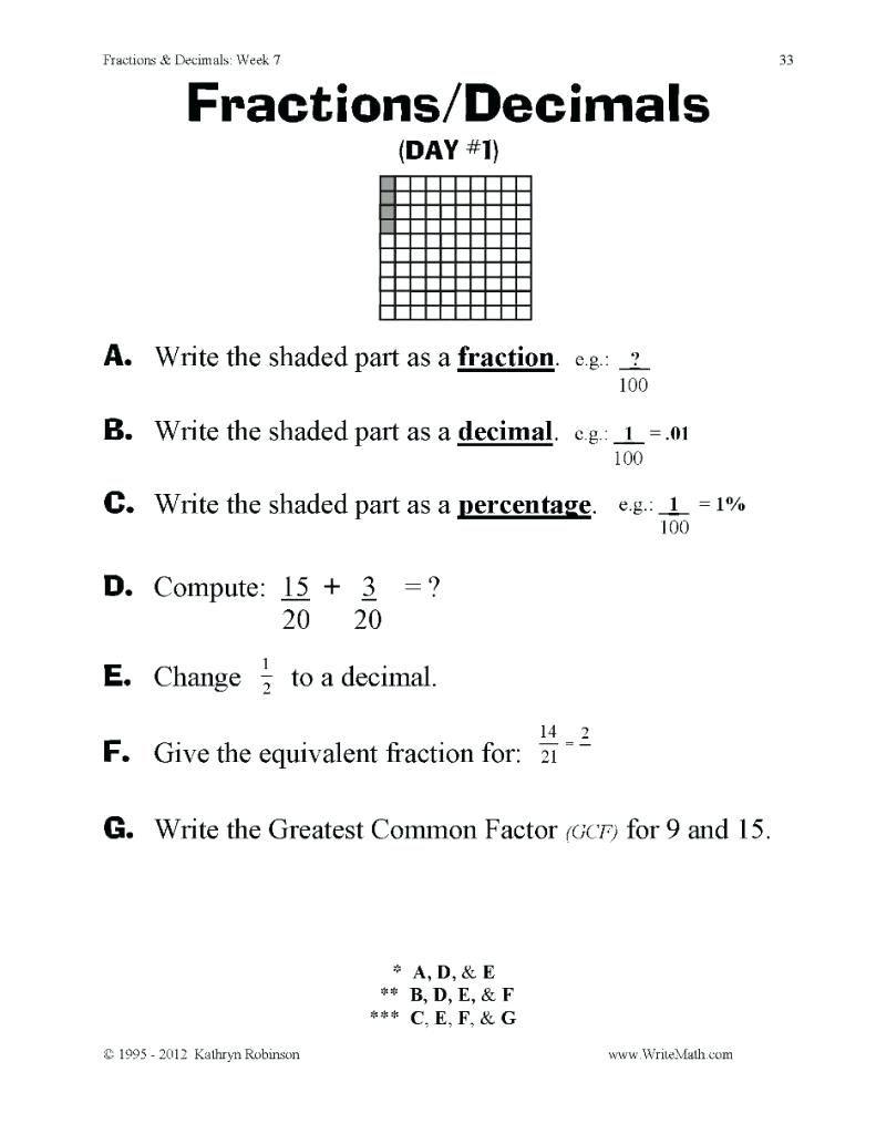 Ideas Collection Grade 7 Fractions Worksheet Decimals Convertals