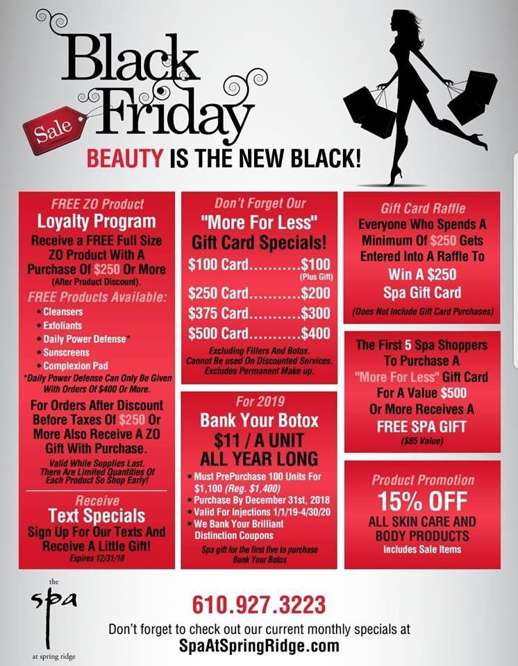 Black Friday Spa At Spring Ridge Specials Medspa Wyomissing Spa Treatyourself Skincare Spaspecials Blackfri Spa Specials Med Spa Marketing Spa Marketing