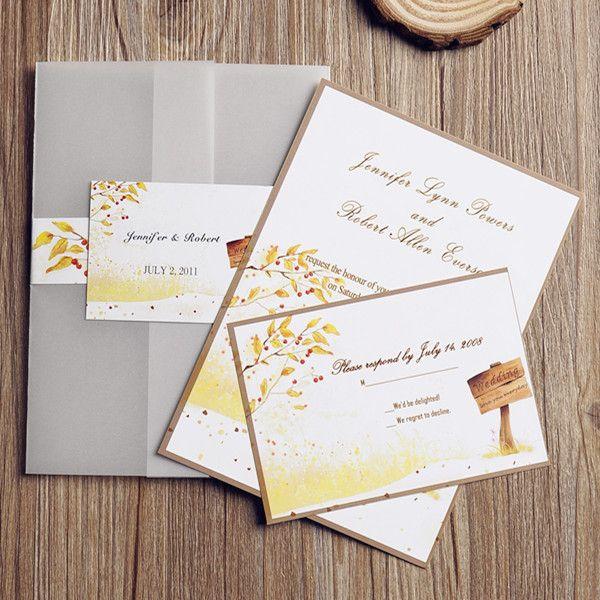 cheap country rustic pocket fall wedding invitation cards ewpi083 as low as 169 - Cheap Country Wedding Invitations