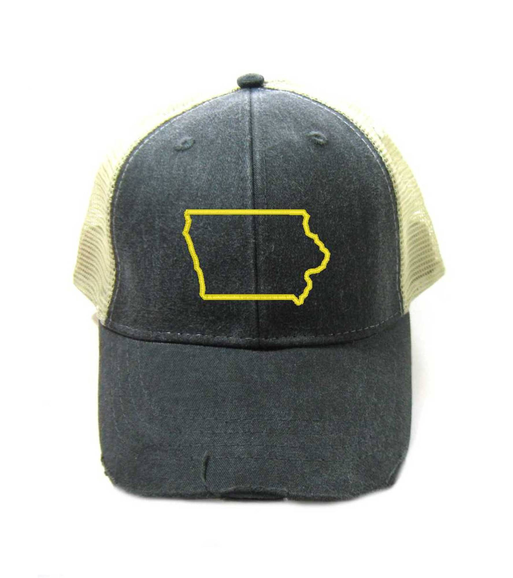 a5415983d02 Iowa Hat - Distressed Snapback Trucker Hat - Iowa State Outline - Many  Colors Available