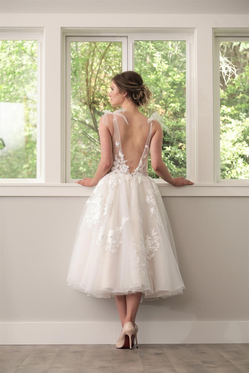 Backless Short Wedding Dress Tea Length Rehearsal Dress Etsy Ankle Length Wedding Dress Tea Length Wedding Dress Wedding Dress For Short Women [ 1191 x 794 Pixel ]
