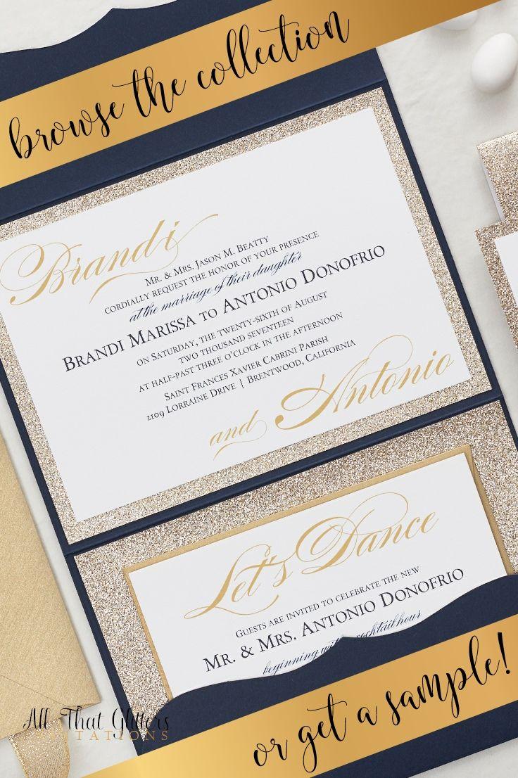 The Brandi Suite   Extra Glitter Wedding Invitation Suite   Glitter ...