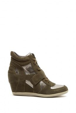 4ad65f60c8a7 Metallic Silver Military Bowie Wedge Trainers by Ash