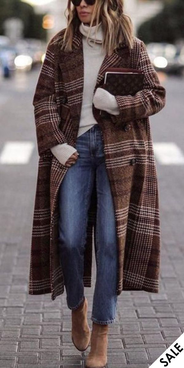 Casual long plaid woolen coat