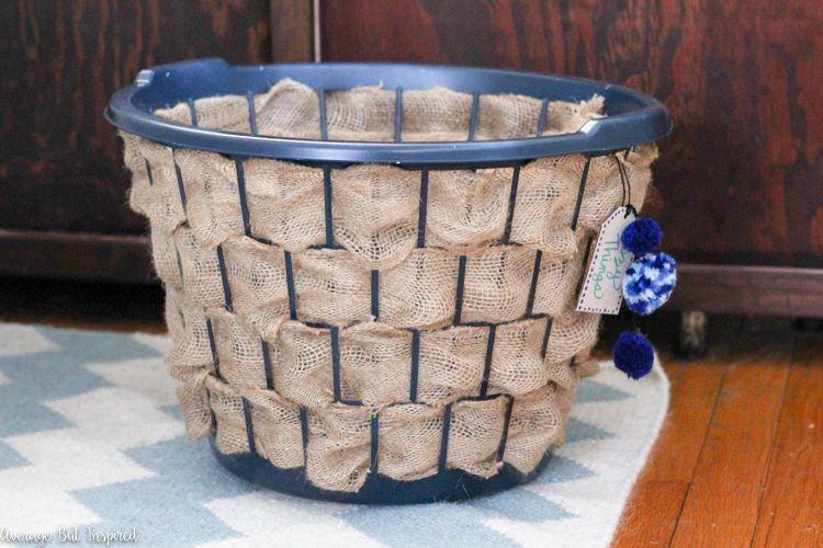 Laundry Hamper To Burlap Basket Upcycle Diy Laundry Basket
