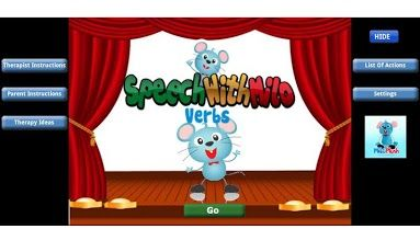 Speech with Milo: Verbs ($2.99) centered on a mouse named Milo. Milo performs over 100 actions, such as bounce, count, and play. This provides an engaging way to build up an action word vocabulary in the child. The animation that comes with Milo will keep any child focused and attentive. And most important- it is fun!The app comes with two sets of instructions- one for Speech Therapists and one for Parents. For infants and toddlers as well as children w/ language delays.