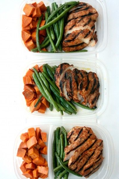 Chipotle Chicken Meal Prep W Roasted Sweet Potatoes And Green Beans