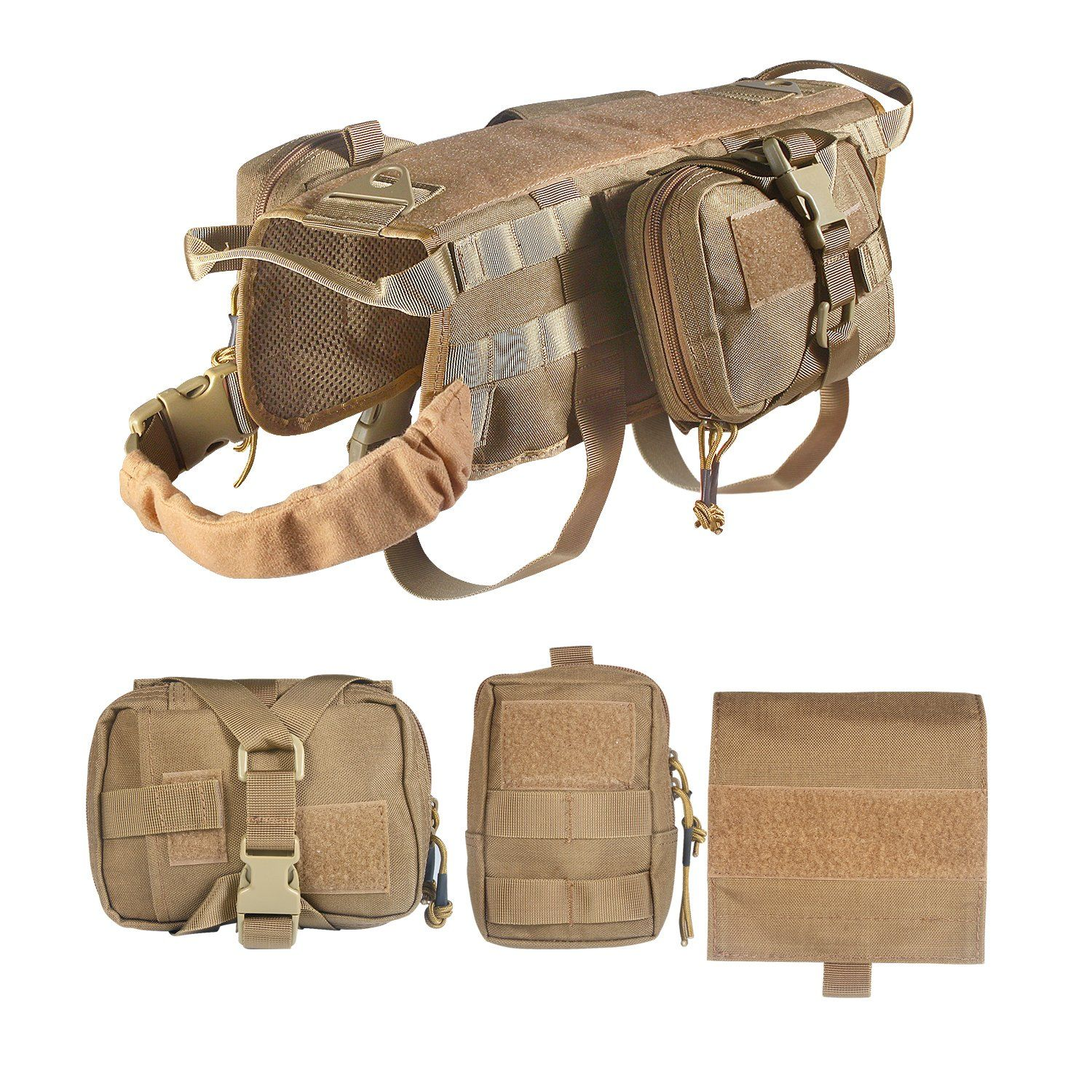 Feliscanis Tactical Dog Vest Training Molle Harness with 3 Detachable Pouches