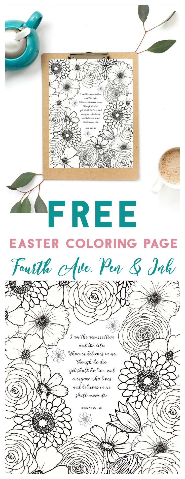 Fourth ave pen u ink free easter coloring page loaded with