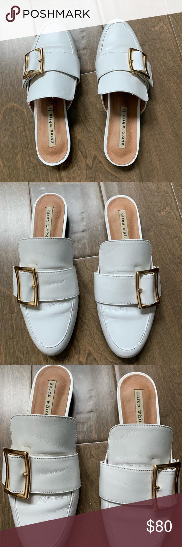 Karen white slides/mules Preowned Does