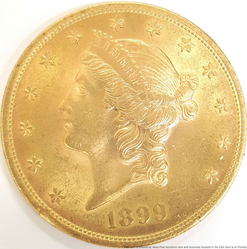 Superior 1899 Gold Double Eagle Liberty Head 20 Twenty Dollar American Us Coin Coins Us Coins Key Dates