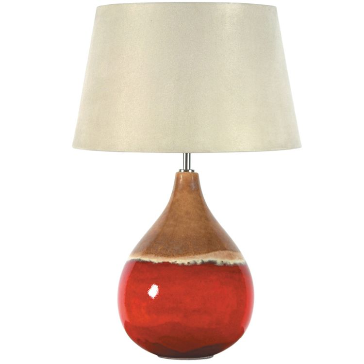 Red Brown Ceramic Table Lamp Base Only £59.99 34mm Tall