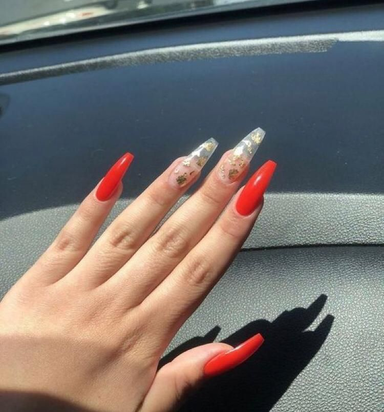 Pin By Amber Sweeney On Nails Red Acrylic Nails Clear Acrylic Nails Gold Acrylic Nails