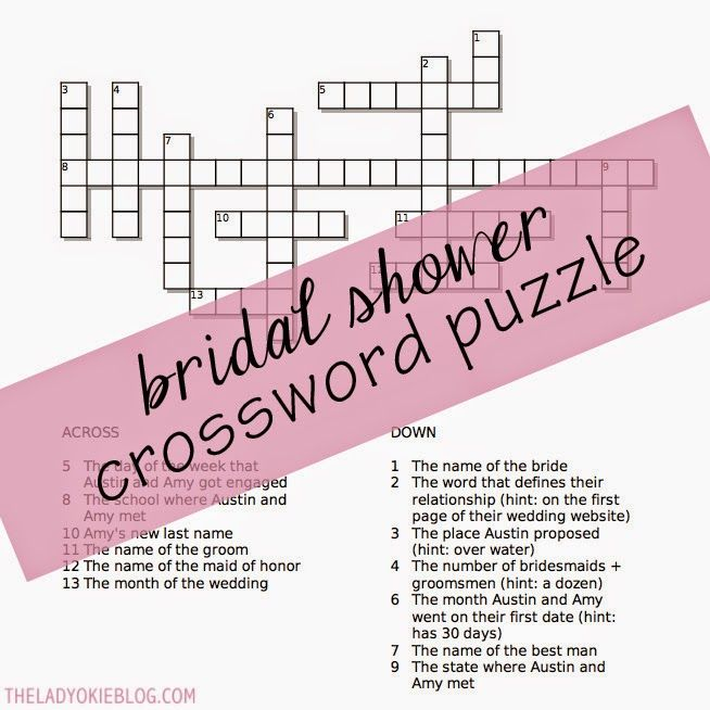 link to an online site where you can make a bridal shower crossword puzzle
