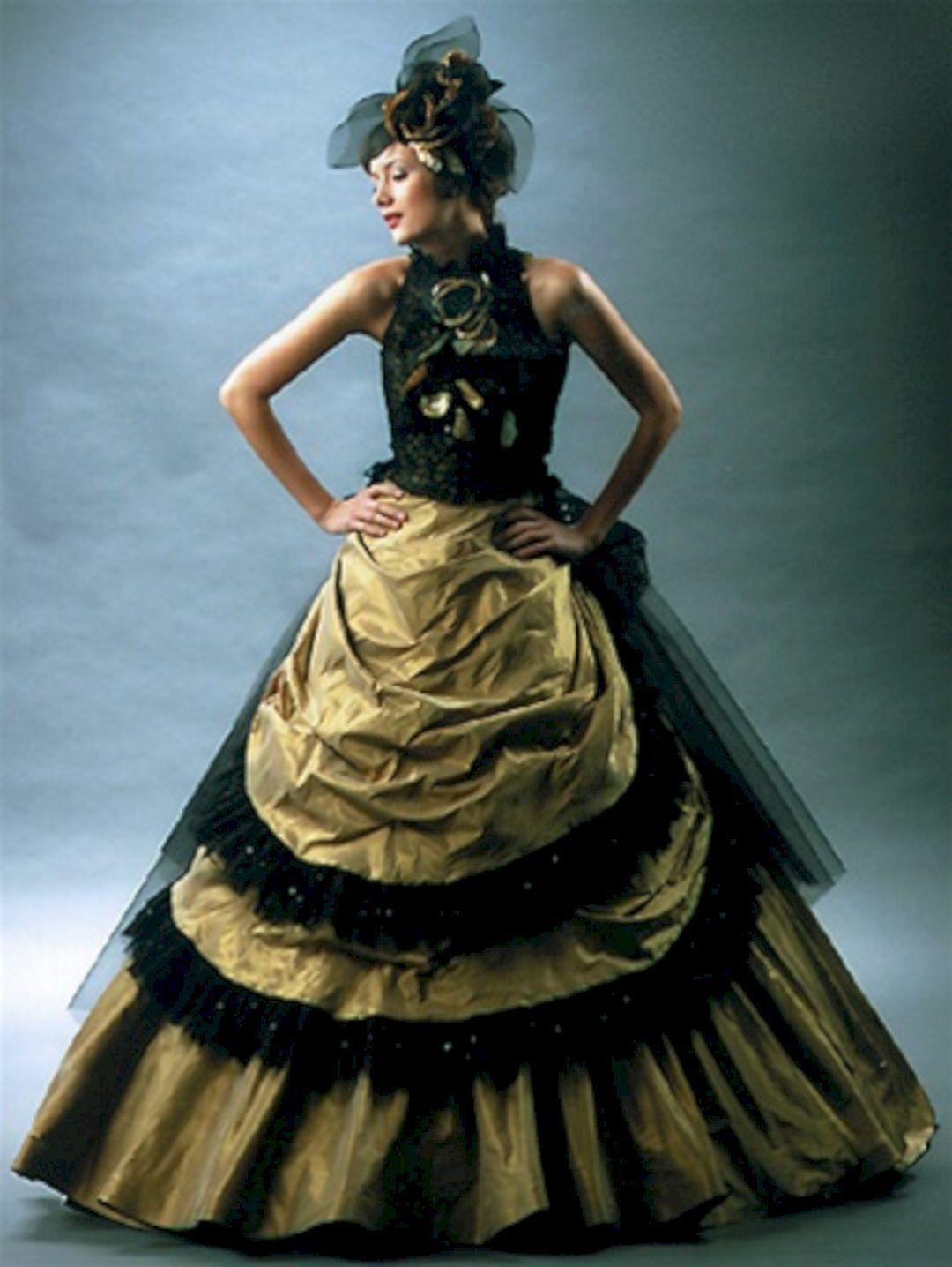 Best 15 Black Gold Wedding Gown For Bride Looks More Elegant Gold Wedding Dress Black Wedding Dresses Orange Dress Wedding [ 1436 x 1080 Pixel ]