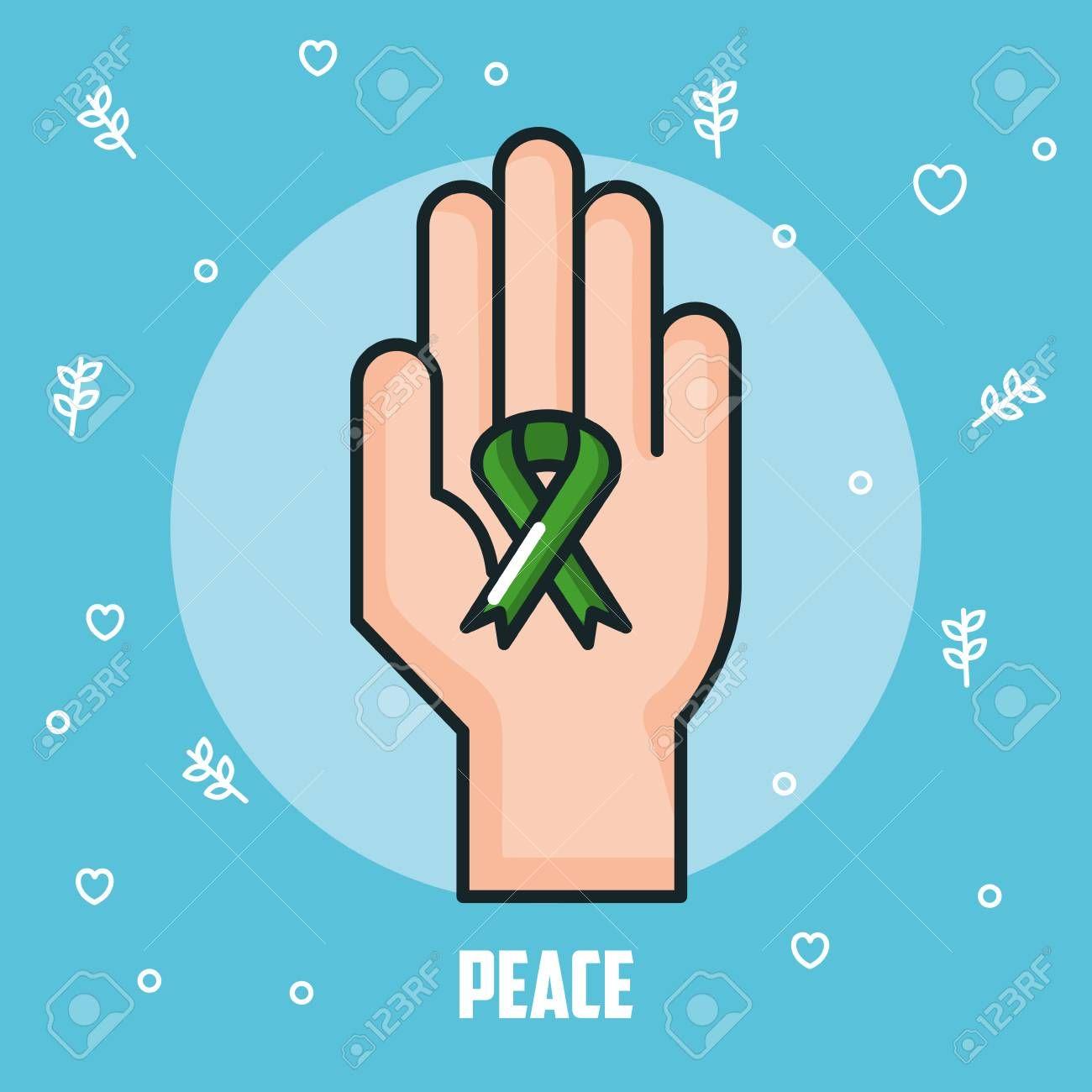 peace hand green ribbon celebration vector illustration ,