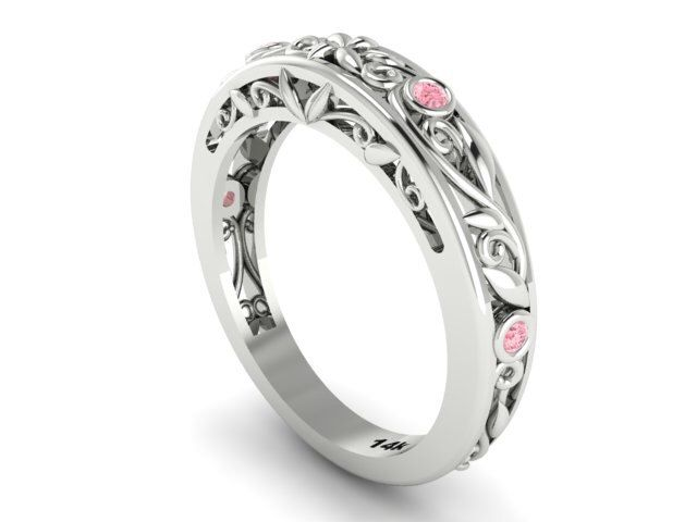 Leaf And Vine Wedding Band Ring Matching Bands Feminine Filigree Design With Light Pink Shires
