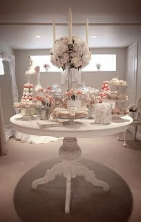 I love the simple color scheme on this candy buffet