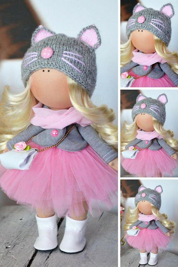 Tilda Handmade Doll Soft Baby Doll Muñecas Rag Doll Fabric Art Doll Poupée Puppen Pink Collection Doll Textile Nursery Doll by Olga S