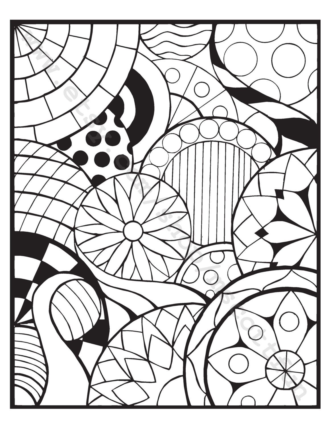 Coloring Page (Circles 3)   Color me Happy   Pinterest   Etsy, Hand ...