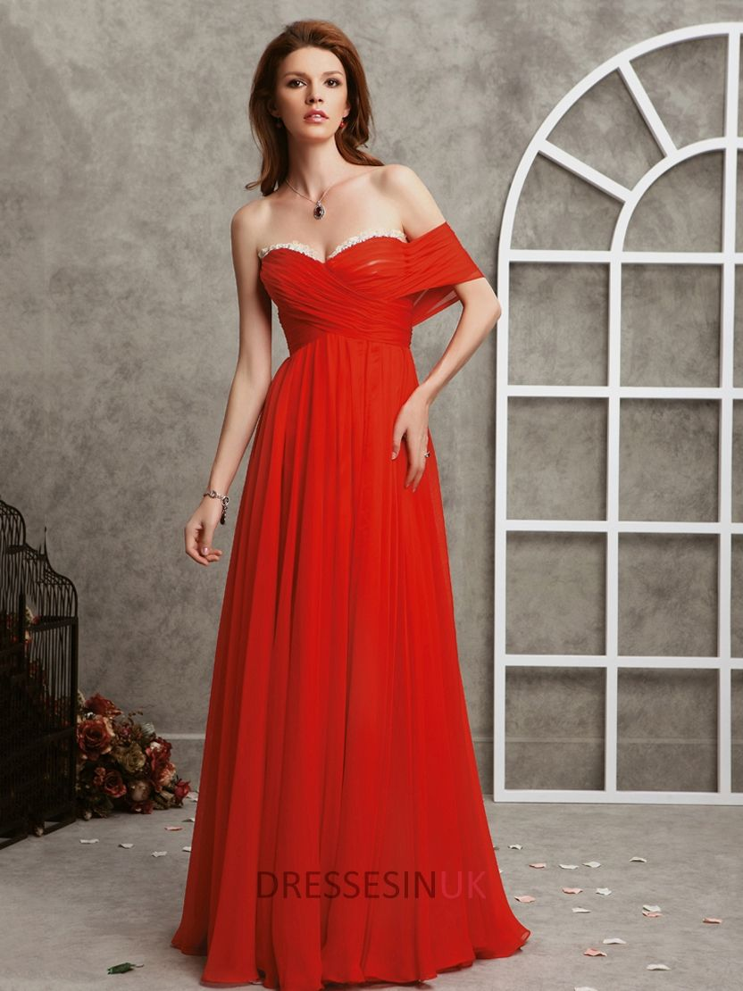 One off shoulder sweetheart red floor length chiffon prom dresses