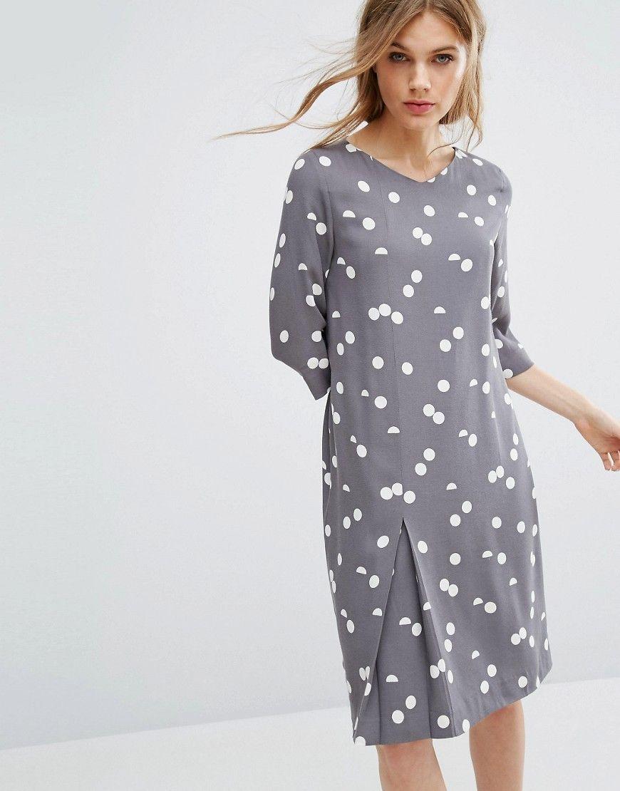 Selected - Kleid mit Punktmuster - Grau Jetzt bestellen unter: https ...