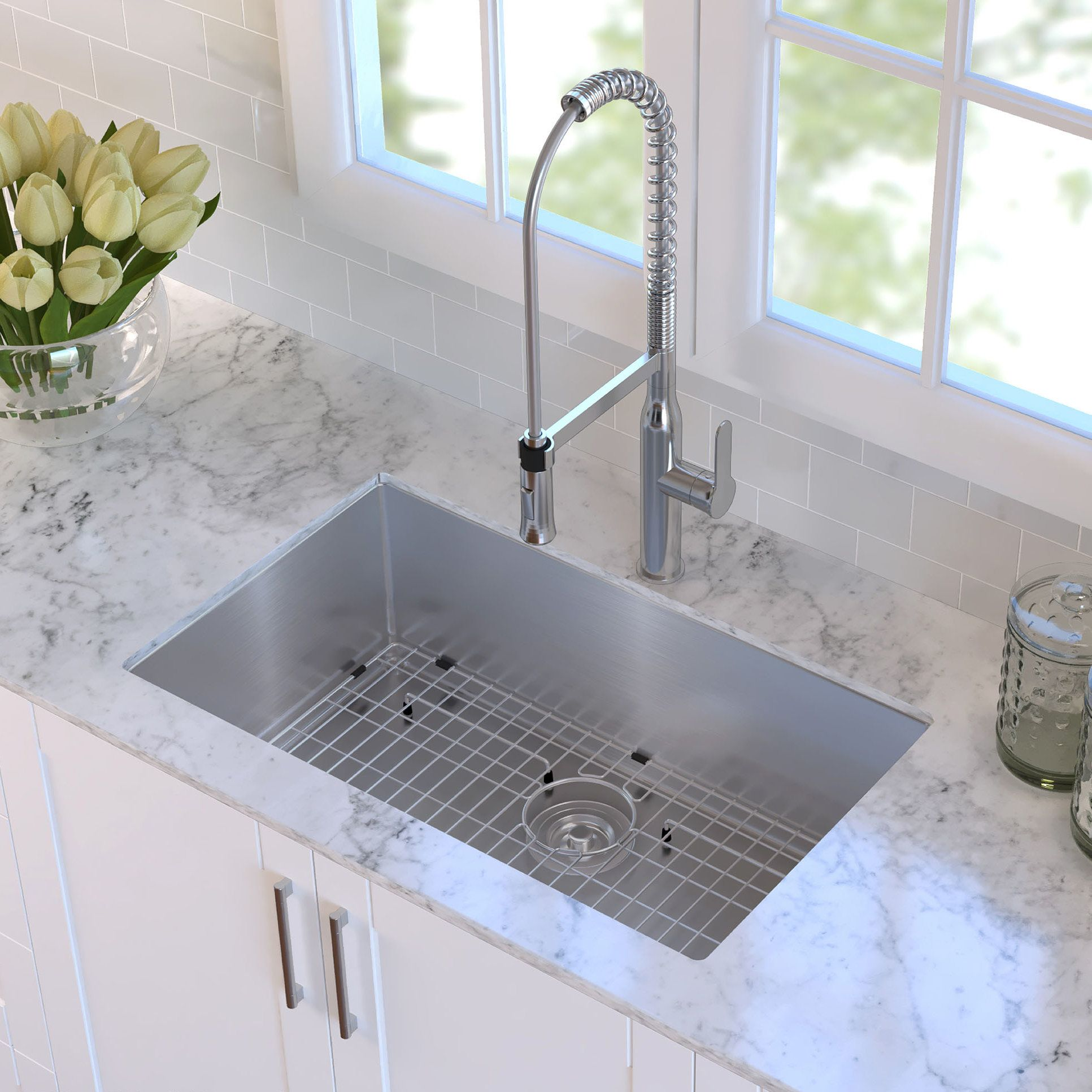 30 x 18 undermount kitchen sink with sink grid and drain assembly rh in pinterest com