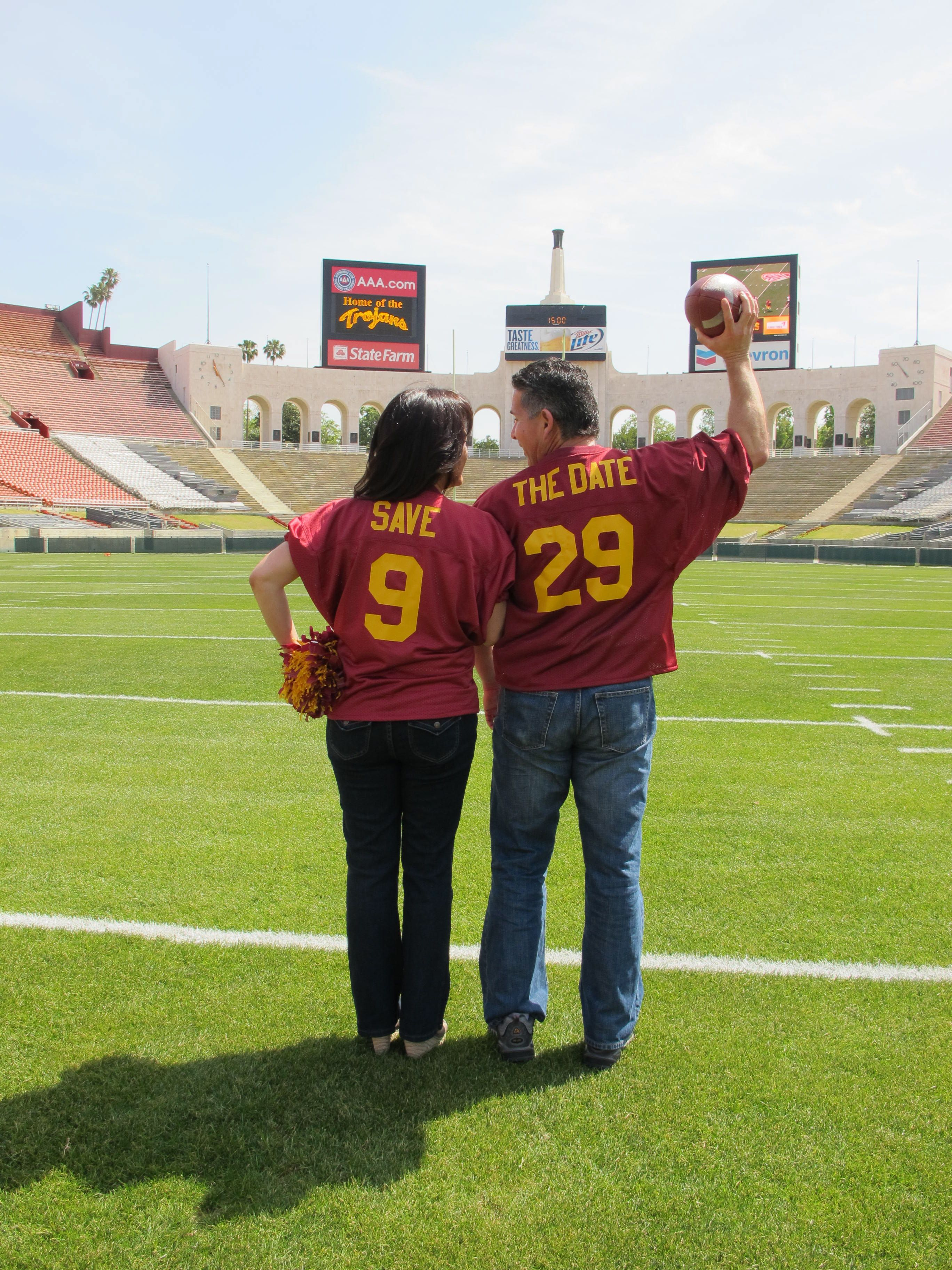 Save The Date Photo Taken In The La Coliseum Home Of Our Trojans Wedding Scheduled On A Trojan Bye Of Course Fairytale Wedding Save The Date Usc