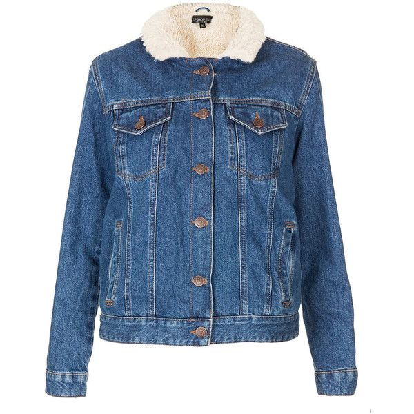 79c629ce302bd TOPSHOP Tall MOTO Vintage Borg Denim Jacket ( 85) ❤ liked on Polyvore  featuring outerwear