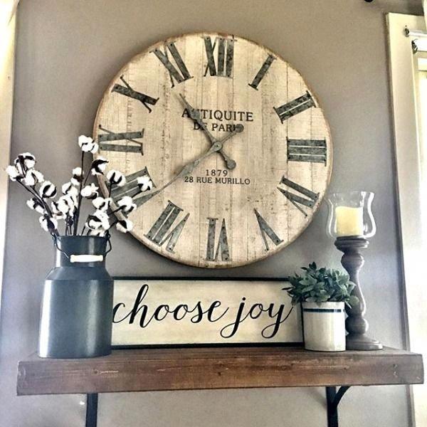 Whitewashed Wall Clock,  #clock #farmhousefireplacemantelswithclock #Wall #whitewashed
