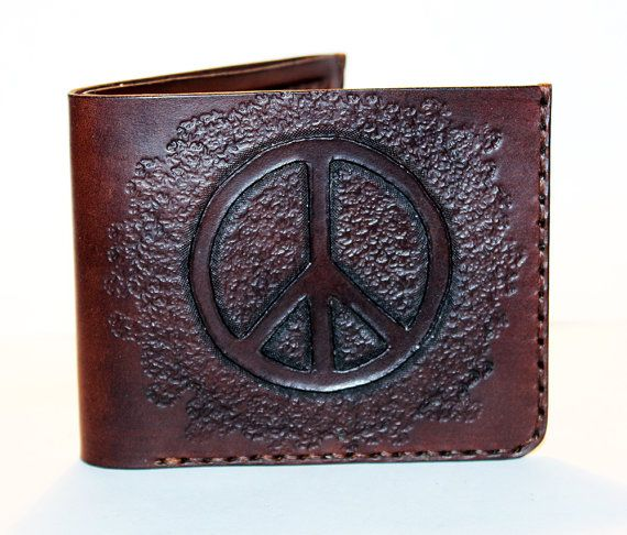 Leather Wallet With Peace Sign Brown Wallet Great Leather Item Peace Sign With Color On Inside