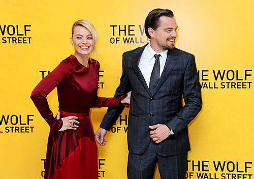 Leonardo DiCaprio and Margot Robbie at the London premier for The Wolf of Wall Street, January 9th, 2014