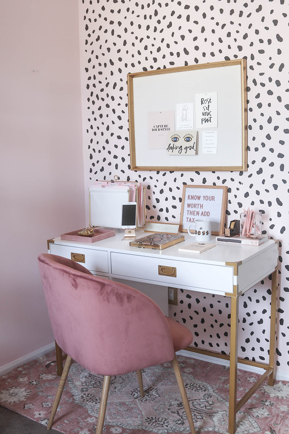 home office chair money. Blogger Office, Neutral Blush Home Decor, Spotted Walls, Wall Stencil, Velvet Chair, Office Chair Money F